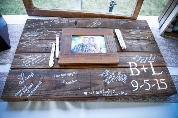 Custom Pallet wall art photo guestbook sign  Personalized wood sign wedding  guest book alternative for rustic farmhouse theme reception