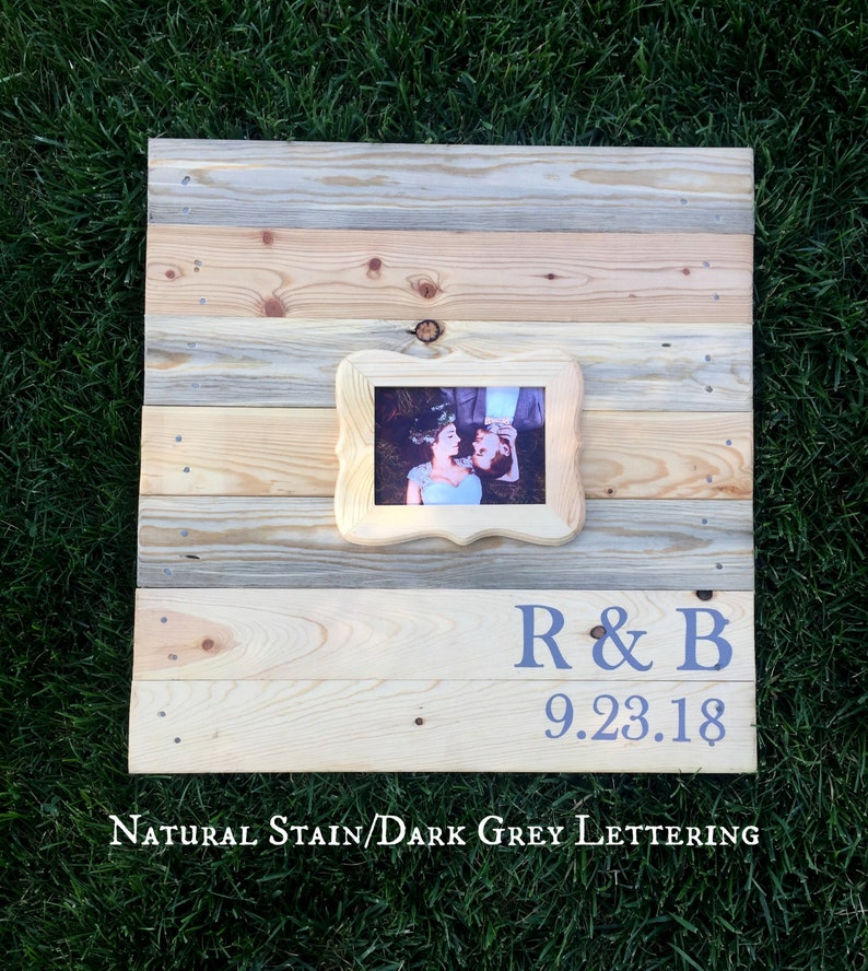 Guestbook Alternative wood, personalized wedding gift, pallet wall art,  gift for bride, wedding photo frame, initials sign, Personalized