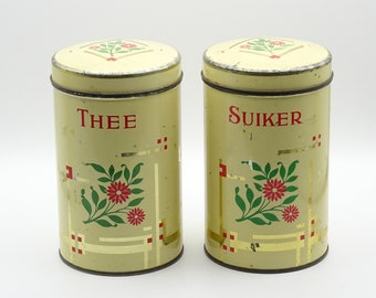 Vintage Tea and Sugar Canister, Dutch Kitchen Canister, Vintage Kitchen Storage Canister