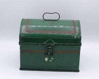 Vintage metal lunch box, art deco lunch box, decorative art deco tin, storage tin