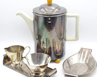 1930s WMF Silverplate Teapot Holder, Bauscher Weiden D.R.P. Ceramic Teapot, Gero Georg Nilsson Trays, Handhammered Silverplate