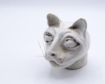 Weird ceramic cat head, white ceramic cat head, cat decor, cat lovers, cat figurine