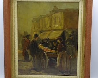 Adriaan de la Rivière (1857-1941) 'Market in The Hague' oil painting on panel, impressionist style painting, antique city scene painting