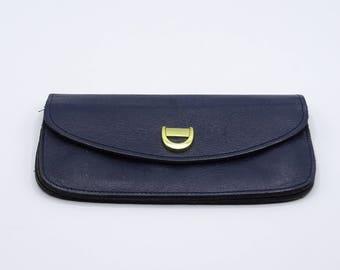 7a6ccf897ea Vintage blauwe lederen portemonnee, Vintage munt en geld-portemonnee