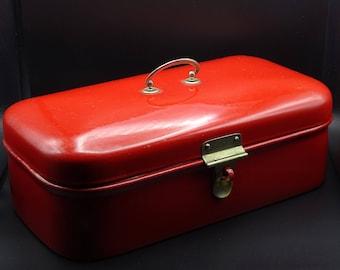 Red Enamel Bread Bin, Enamel Bread Box, Vintage Kitchen, Vintage Enamelware