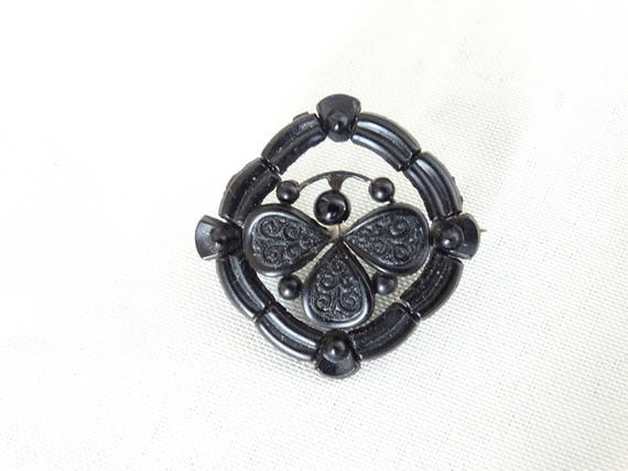 Victorian Black Onyx Mourning Brooch, Victorian Mo