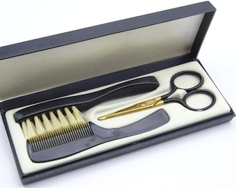 Vintage moustache grooming set from West Germany, men's grooming, vintage grooming, vintage bathroom, movember