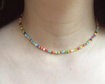 Seedbead multi coloured rainbow choker necklace boho, hippie, beach, festival, love