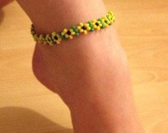 Anklet ankle bracelet beaded Sunflower boho hippie festival