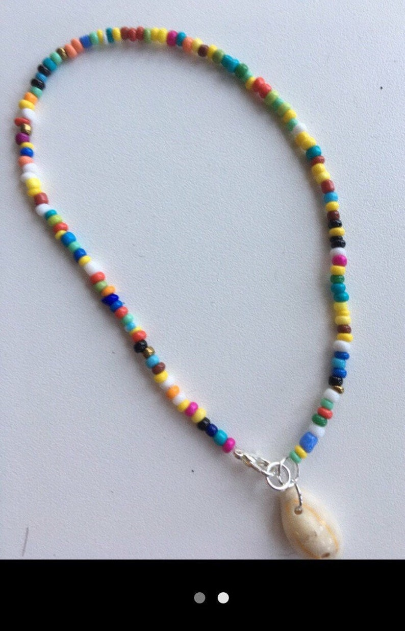 Seedbead anklet with shell charm Multi coloured beach surf festival hippie