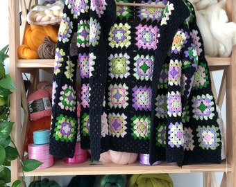 Women Crocheted Granny Square Boho Coat Sweater Cardigan