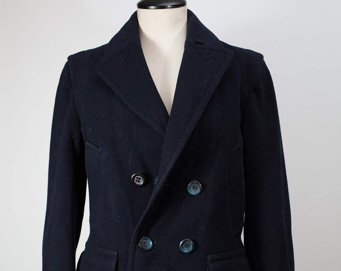Blue Wool Overcoat / Vintage Women's Utex Wool Blend Coat Jacket / Made in Canada Button Up