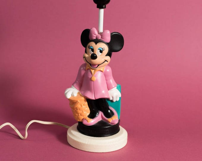 Disney Minnie Mouse Lamp - Vintage Pink Bow Travelling Luggage Plastic Lighting Lamp
