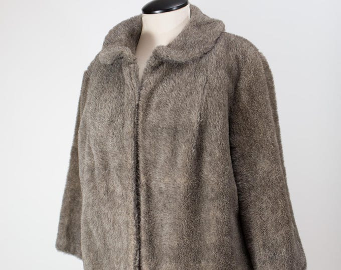 Faux Fur Jacket / Vintage 1950's Women's Medium Size Canadian Grey Jacket Coat