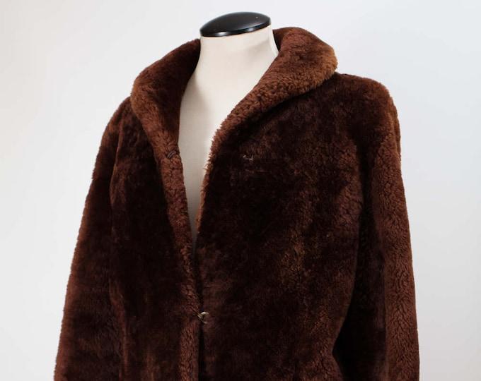 Vintage 50's Men's or Women's Medium Size Canadian Brown Faux Fur Jacket with Patterned lining / Kerrybrooke  Sears Roebuck Fashion Coat