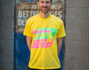 1990's Vintage Tee / Men's Screen Stars The Wynford Challenge 1990 T-Shirt / Tee with Artwork - Bright yellow with florescent
