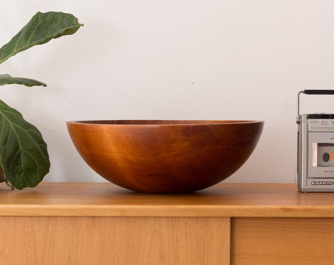 Large Wood Salad Bowl - 1960's Vintage Solid Maple Wood Baribocraft Appetizer Bowl - Food Safe Serving Dish - Hand Carved Hardwood Bowl