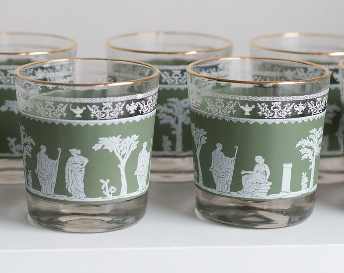 8 Cocktail Glasses - Greek / Roman Style Vintage Gold Lip and Clear Glass with Green Motif Wedgwood Style Hollywood Regency Barware