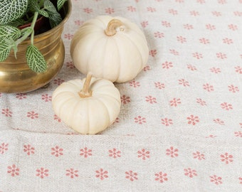 Vintage Ornate Tablecloth - 1970's Pink Flower and White Mid Century Modern Geometric Style Fabric Tapestry Christmas Table