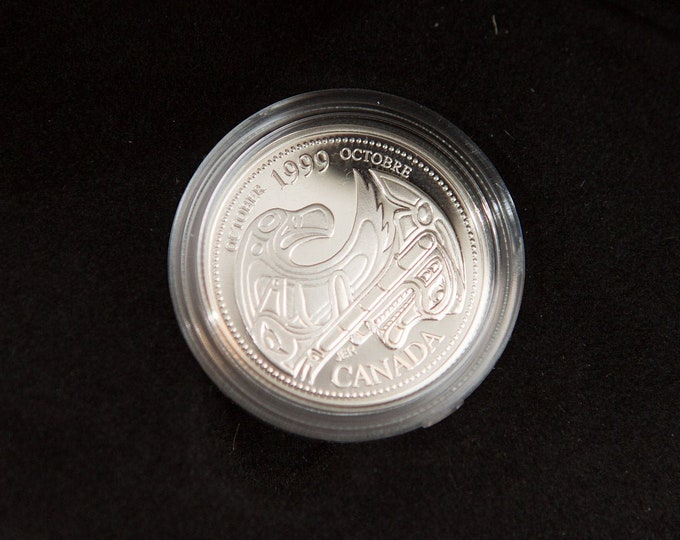 October 1999 Sterling Silver Quarter - Vintage Coin Proof - Royal Canadian Mint Collectible Coin