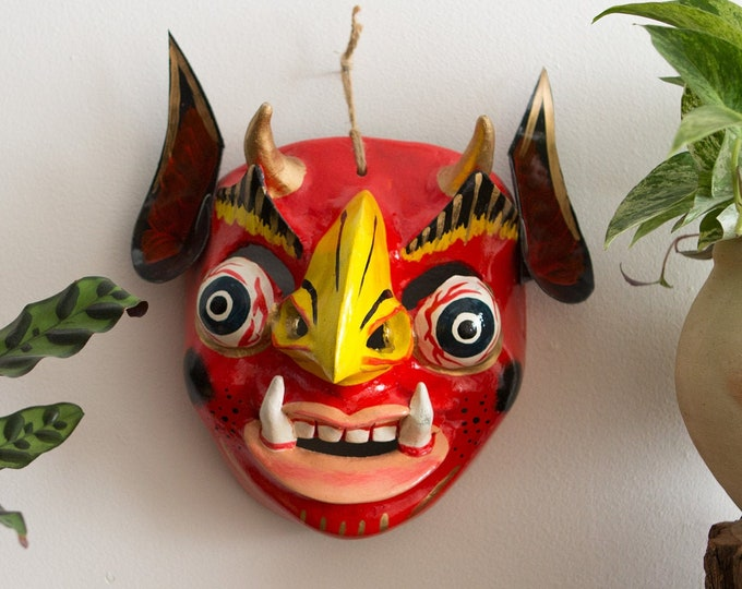 Vintage Red Mask - Wall Hanging Tribal Face - Hand Painted Mexican Devil Mask Folk Art with Ears - Indigenous Aboriginal Art