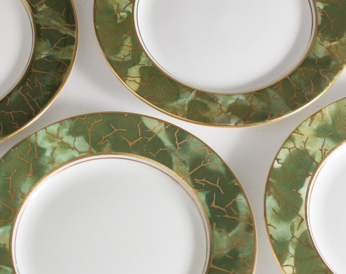 4 Aynsley Onyx Side Plates - Set of 4 Green and Gold Fine English Bone China - Lush Green Leafy Marbled Jungle Pattern Salad or Bread Plates