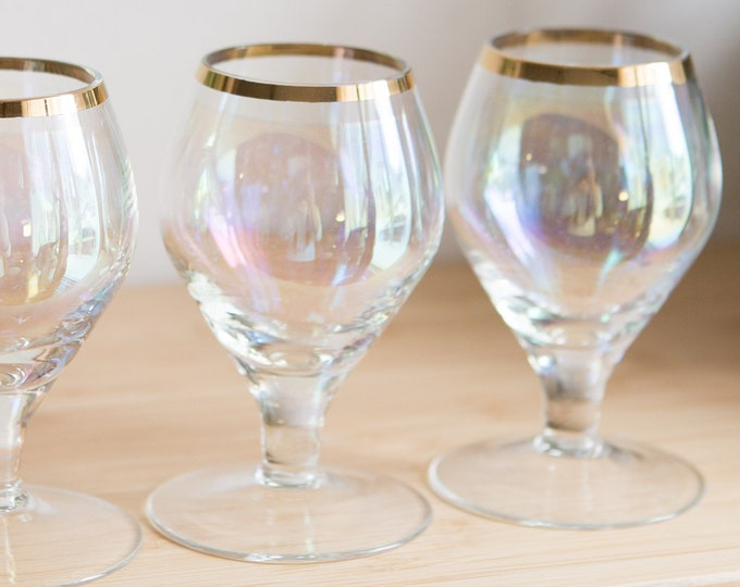 6 Vintage Lustre Apéritif Glasses - Small Iridescent Stemmed Glasses with Gold Rim