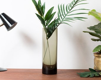 Smoke Grey Glass Vase - Cylinder Gray Glass Flower Vase - Mid Century Modern Norwegian Scandinavian Finnish Home Decor - Wedding Gift