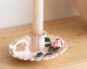 Vintage Ceramic Candlestick Holder - Pink Glaze Floral Cottagecore Decor - Made in Japan.