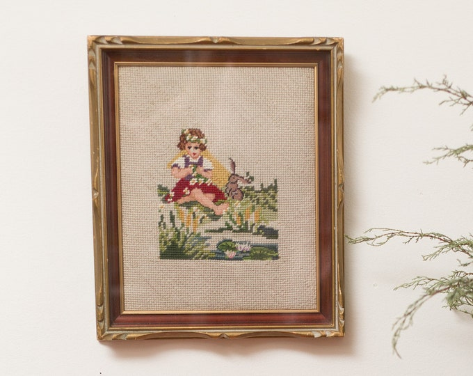 Vintage Framed Needlepoint Artwork of Girl and Bunny Rabbit - Embroidered Cross Stitch Fabric Art Tapestry - Red and Orange Roses