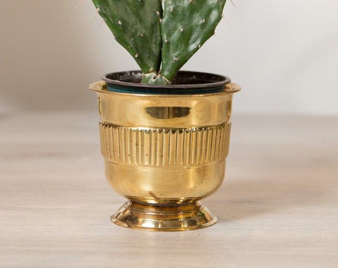 Vintage Solid Brass Planter - Round Metal Footed Pattern Pot for Succulents, Cactus, Plants, Herbs, etc - Gold Coloured Bowls