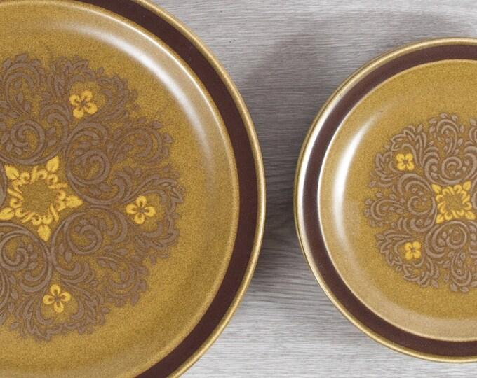 Vintage Brown Dinner Plates - Set of 8 Estoril Pattern Dinnerware / Made in Japan