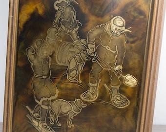 Vintage Inuit Engraving - Copper Acid Etched Art - Priddat's Studio, Canada - 13x17 - 70's Wood Frame Native American Artwork Wall Plaque