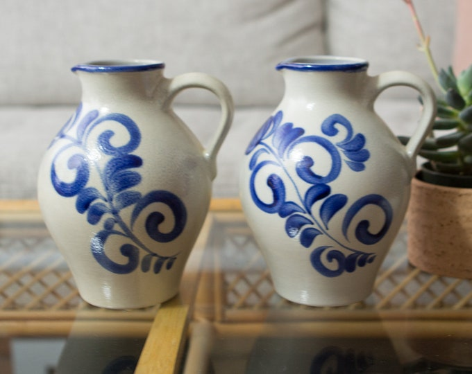 Vintage Ceramic Pitchers - Pair of Blue and Cream Coloured Juice or Water Jugs with Flower Ornate Pattern - Studio Pottery Stamped JLK 246