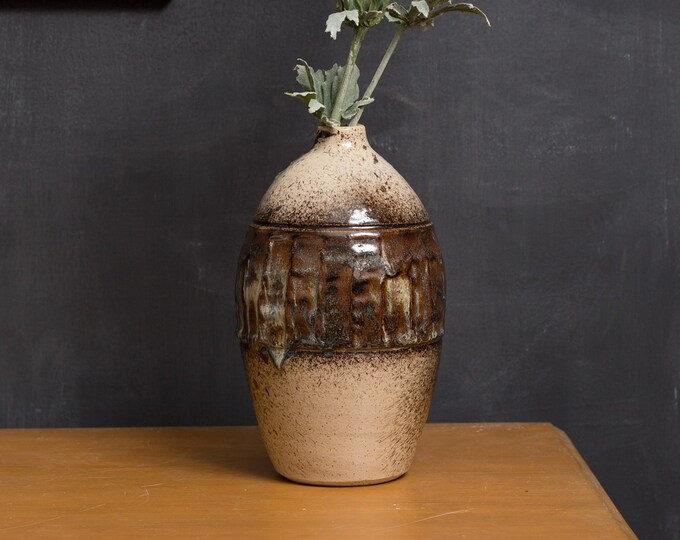 Ceramic Bubble Vase - Vintage Tan and Brown Studio Pottery Art Vase for Flowers, Branches, Floral Arrangement - Mid Century Modern Decor