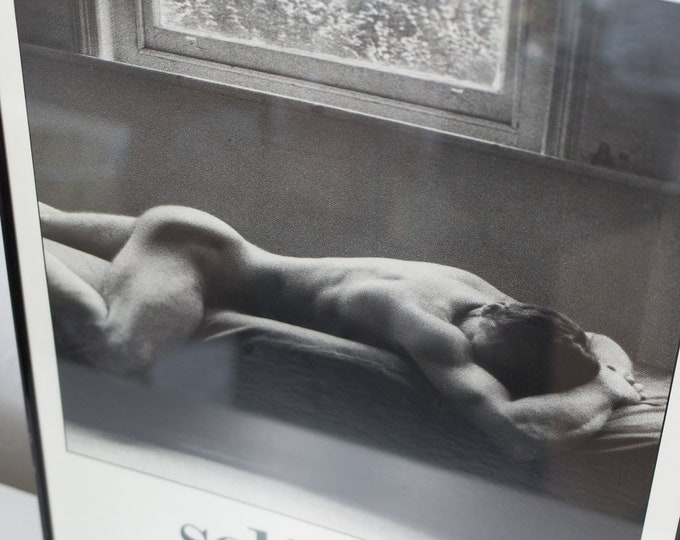 Vintage Nude Male Print - 1985 Naomi Stanley Photography - Solitaire - Black and White Erotic Artwork - Male Body Man Figure Muscle Art