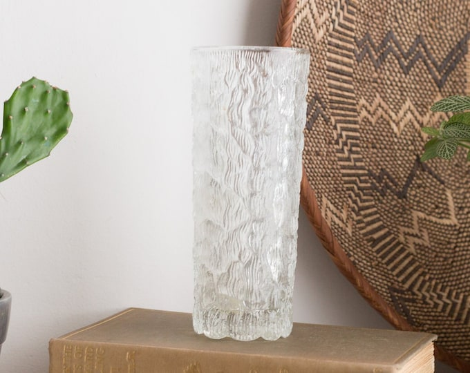 Vintage Icicle Glass / Frosty Scandinavian Finnish Style Frosted Finland Cocktail Glass / Mid Century Modern Ice Design Norwegian Glass