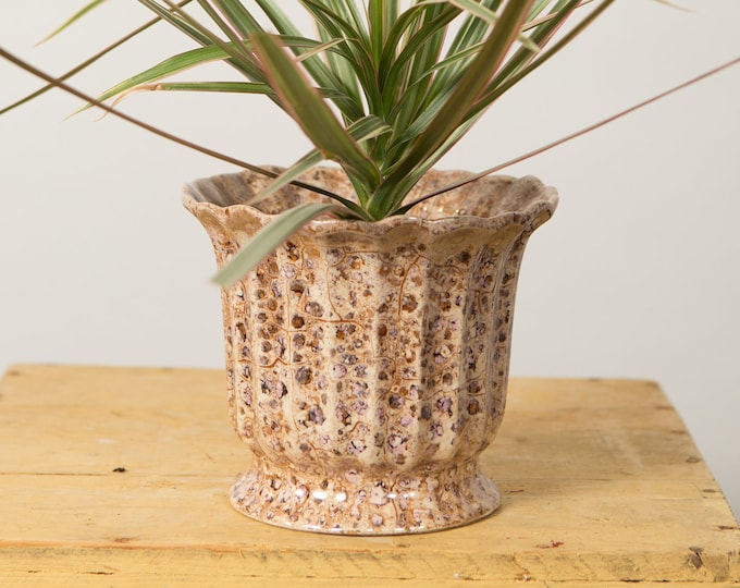 Crackled Ceramic Planter - Vintage Brown Plant Pot - Flower Pot with Pleated / Biscuit Pattern Earth tone Colours
