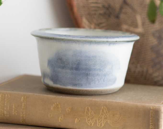 Minimalist Vintage Glazed Ceramic Bowl Signed at Bottom - Light Blue Style Glazed Boho Modern Pottery Dish