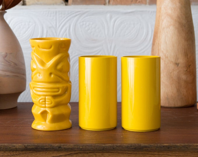 Crayonne Cups and Ciroc Yellow Tiki Cocktail Cup - Vintage Plastic Camping Shatterproof Kitsch Plastic Picnic Colorful Barware