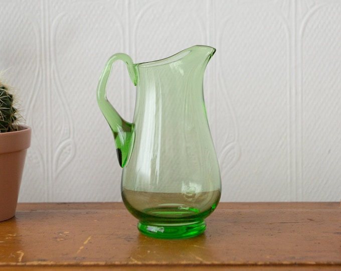 Green Glass Pitcher - Vintage Handblown Juice or Cocktail Barware Jug - Vintage Mid Century Modern Design