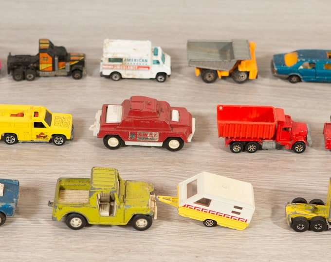 17 Vintage Metal Truck Toys - Small Collectible Metal Child's Cars / Toys