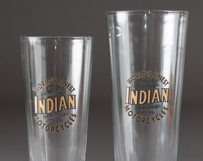 2 Vintage Beer Glasses - Retro Indian Pilsner Glassware - Cocktail Barware Glasses Steins