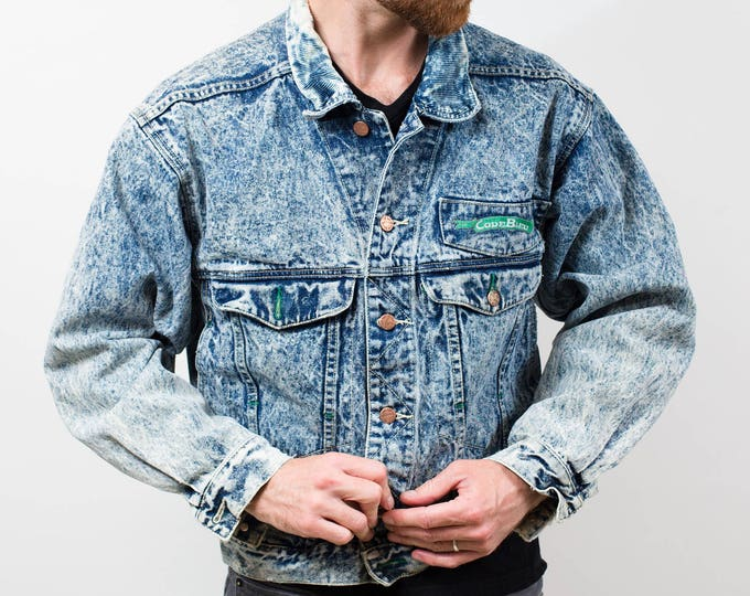 Vintage Denim Jacket / 1980's Acid Wash BlueJean Jacket by Code Bleu / Button up Spring Fall Outdoor Coat