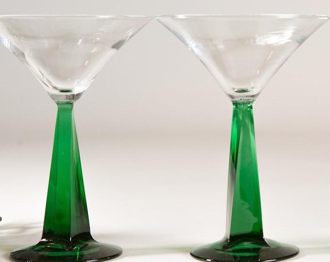 Vintage Green Stem Martini Glasses - 8oz - Pair Southwestern Desert Style Cocktail Stemware Glasses