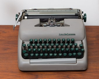 Vintage Smith Corona Typewriter - WORKING Green and Grey Vintage Typewriter with Original Case - Made in Canada