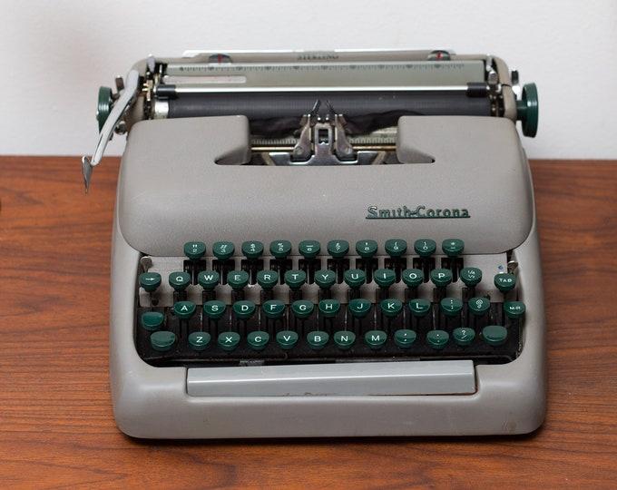 Vintage Smith Corona Typewriter - WORKING Green and Grey Vintage Typewriter with Original Case - Made in Canada