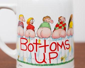 Vintage Bottoms Up Mug by Moodz - Large Collectible Ceramic Coffee or Tea Mug