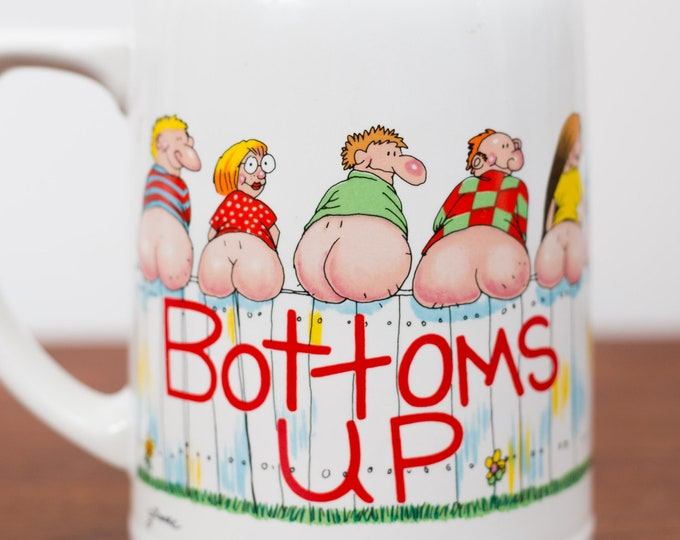 Vintage Bottoms Up Mug by Moodz - Large Collectible Ceramic Coffee or Tea Mug