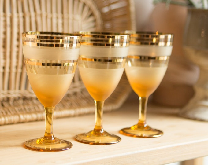 3 Vintage Amber Glasses with Gold Bands - 4oz Blown Glass Aperitif Cocktail Glasses
